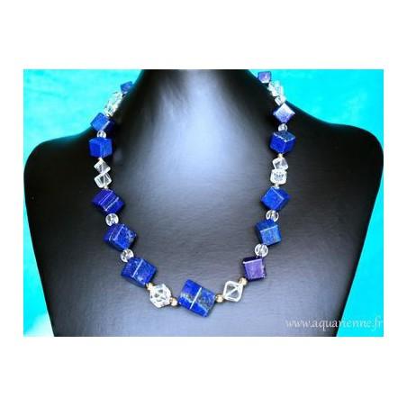 """Collier Lapis-Lazuli, Cristal de Roche et Or Plaqué """"Telos"""""""