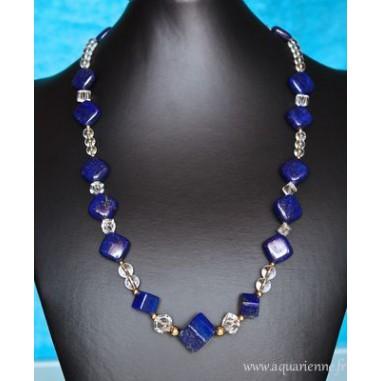 """Collier Lapis-Lazuli, Cristal de Roche et Or Plaqué """"ÉquiLibre"""""""