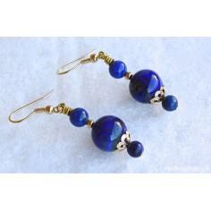 """Boucles d'Oreilles en Lapis Lazuli et Or Plaqué """"BleuLuz"""" (12)"""