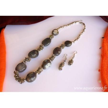 Parure Collier Boucles Oreilles Agate grise et Labradorite BonneFortune