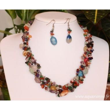 Parure collier et boucles oreilles Shanti multi pierres