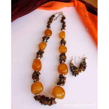 Parure collier + boucles d'oreilles Agate jaune et Œil de Tigre, Collection BonneFortune