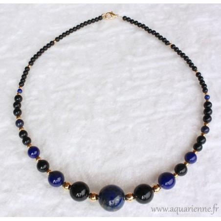 "Collier ""Neptuna""en  Lapis Lazuli, Onyx et Or"