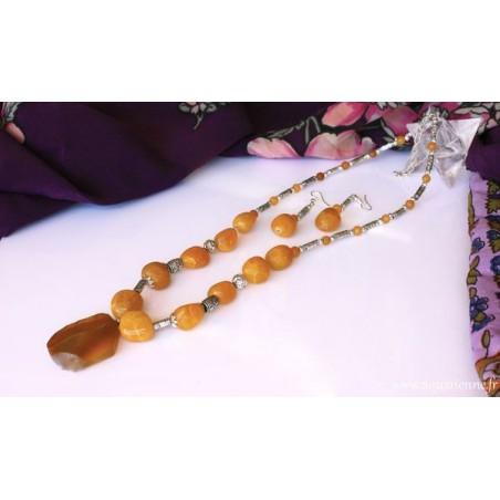 Parure collier+boucles d'oreilles Agate jaune Nirvana