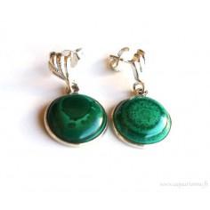 Boucles d'Oreilles Argent 925 et Malachite