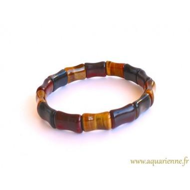 Bracelet Œil de Tigre, Œil de Faucon, Œil de Taureau Forme Bambou
