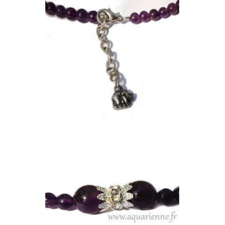 Parure Bijoux Maharani : Collier + Boucles d'Oreilles + Bracelet en Améthyste