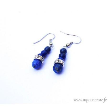 Parure Bijoux Maharani : Collier + Boucles d'Oreilles + Bracelet en Lapis Lazuli