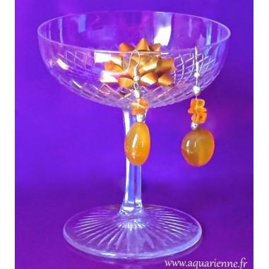 Boucles d'Oreilles Agate jaune