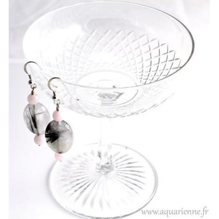"""Boucles d'Oreilles Argent 925 Quartz rose et Quartz à inclusions de Tourmaline """"Perles de Joie"""""""