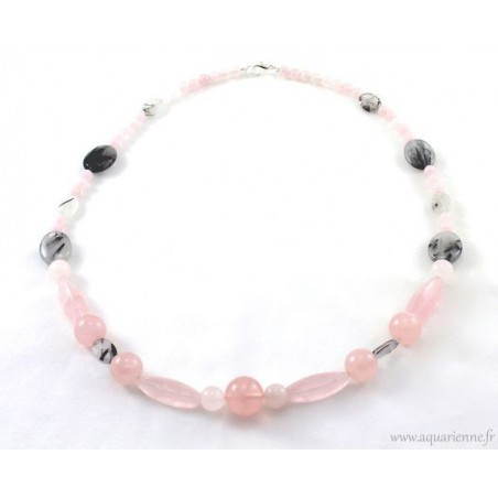 "Collier ""Plénitude"" en Quartz rose et Quartz Tourmaline"