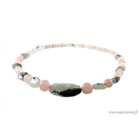 "Collier ""Anandita"" en Quartz rose et Quartz Tourmaline"