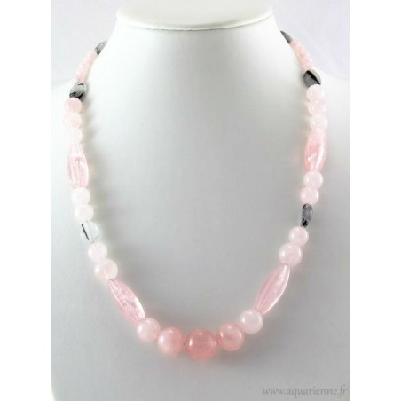 "Collier ""Power of Love"" en Quartz rose et Quartz Tourmaline"