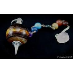 Pendule Séphoroton en Œil de Tigre avec chaînette 7 chakras