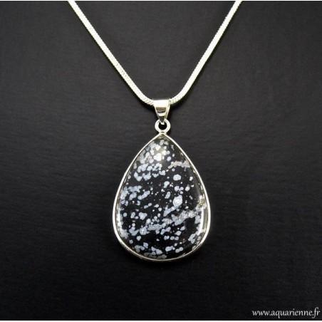 Pendentif Obsidienne Flocons de Neige en Argent 925