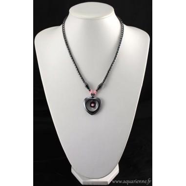 Collier Cœur Hématite avec perles Œil de chat rose