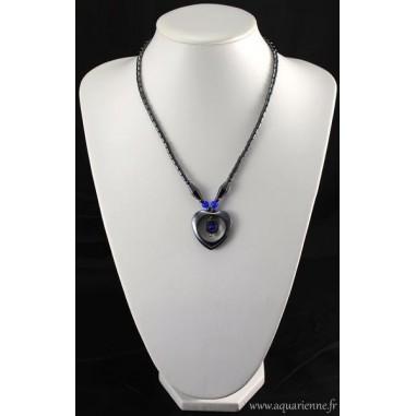 Collier Cœur Hématite avec perles Œil de chat bleu
