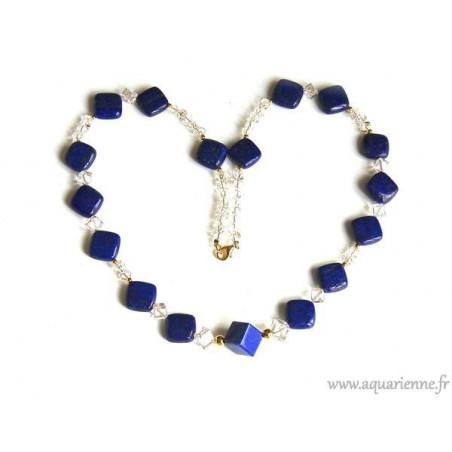 Collier Lapis-Lazuli Cristal de Roche et Or Plaqué Astréa (63cm)