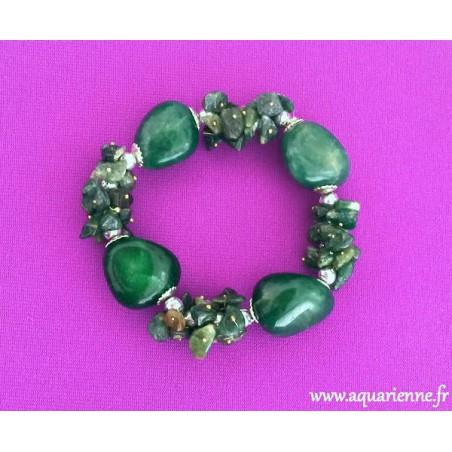 Bracelet Chance Agate Mousse et Aventurine Verte