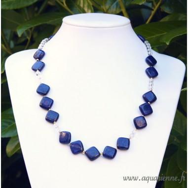 Collier Lapis Lazuli et Or plaqué Élégance Lucide 58cm