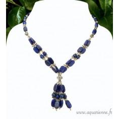 """Collier Lapis Lazuli et métal ciselé """"Éclatant"""""""