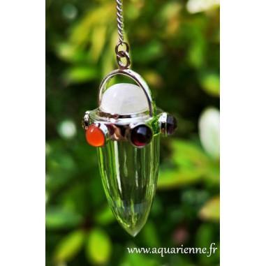 Pendule pointe Quartz avec couronne 7 chakras