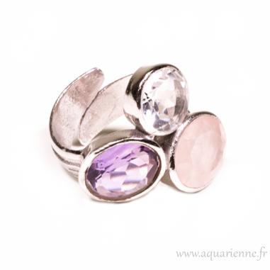 """Bague """"Triangle d'Or"""" Améthyste, Quartz rose, Cristal de Roche"""