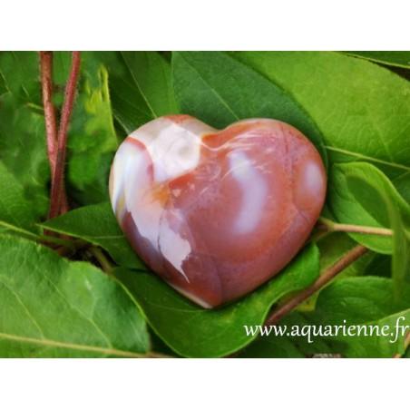 Cornaline taillée en forme de coeur