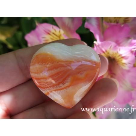 Cornaline pierre naturelle taillée en forme de coeur
