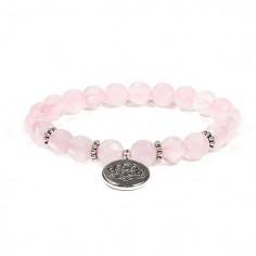 Bracelet boules de quartz rose et breloque charm fleur de lotus