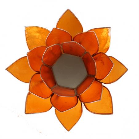 Porte bougie coquille de Capiz orange et argent