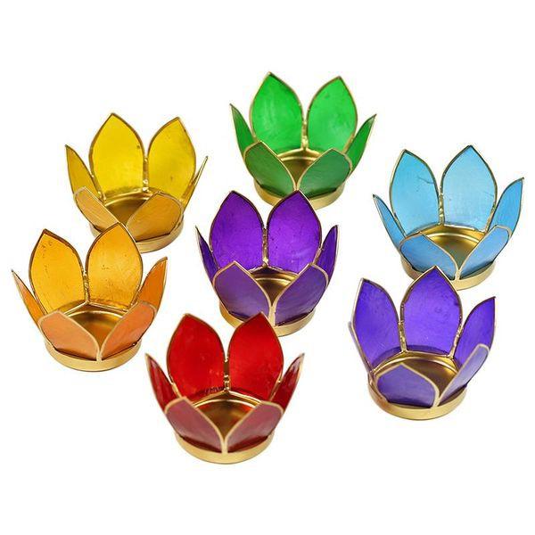 Lot de 7 photophores lotus aux couleurs des chakras