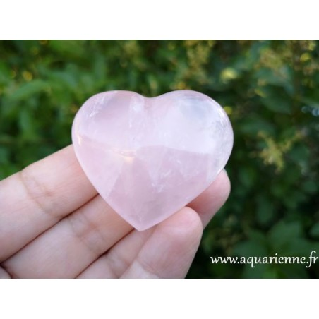 Coeur en quartz rose de Madagascar - 43mm
