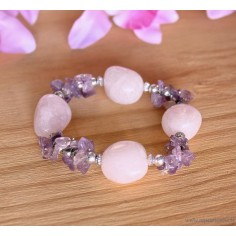 Bracelet Améhtyste et Quartz Rose