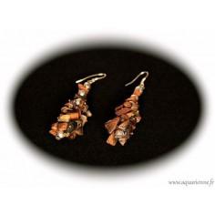 Boucles d'Oreilles Grappe en Chips Œil de Tigre
