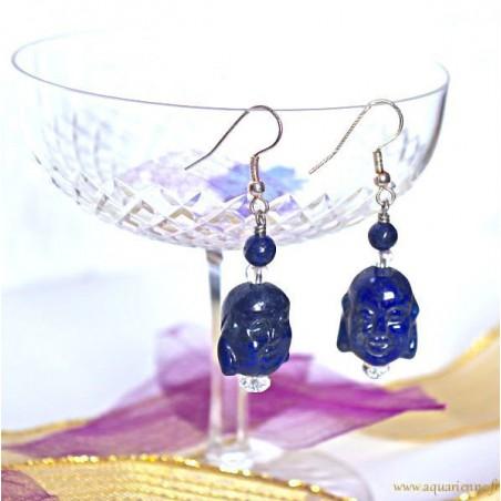 """Boucles d'Oreilles Tête de Bouddha Rieur en Lapis Lazuli """"Blubuddha"""""""