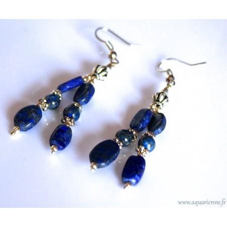 """Boucles d'Oreilles Lapis Lazuli et Métal Ciselé """"Éclatant"""""""
